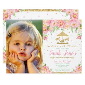 Pink Floral Carousel 1st Birthday Girl with Photo Invitation