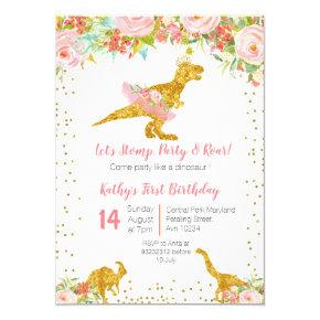 Pink Floral Dino Trex Birthday Invitation