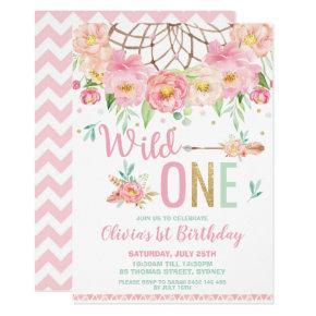 Pink Floral Dream Catcher Wild One 1st Birthday Invitation