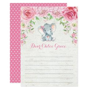 Pink Floral Elephant Time Capsule Message