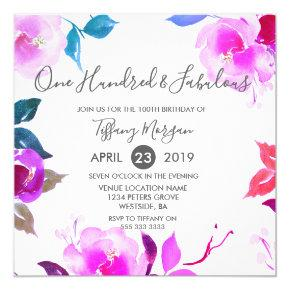 Pink Floral Fabulous 100th Birthday Party Invitations