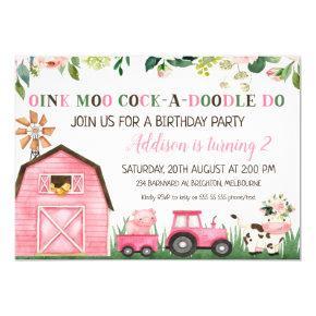 Pink Floral Farm Animals Birthday