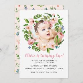 Pink Floral Girl 1st Birthday  | Photo