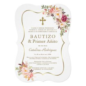 Pink Floral Gold Spanish Girl 1st Birthday Baptism Invitation
