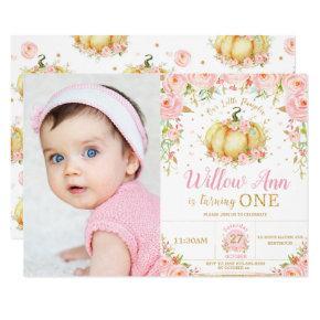 Pink Floral Little Pumpkin Girl 1st Birthday Photo Invitation