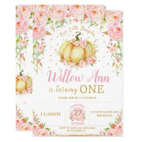 Pink Floral Little Pumpkin Girl 1st First Birthday Invitation