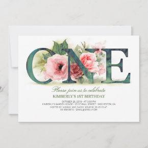 Pink Floral ONE   1st Birthday Party Invitation