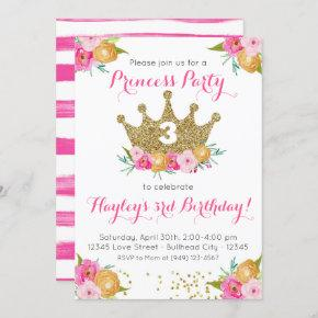 Pink Floral Princess Party Girl's Birthday Invitation