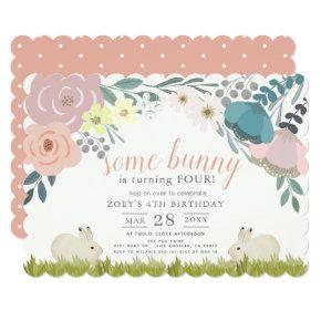 Pink Floral Some Bunny Girl Birthday Invitation