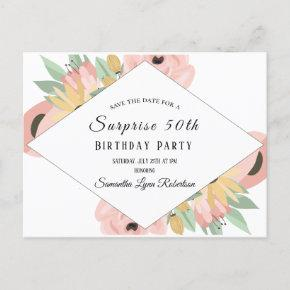 Pink Floral Surprise Save The Date 50th Birthday Invitation Post