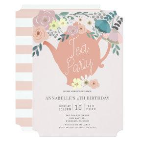 Pink Floral Tea Party Girl Birthday Invitation
