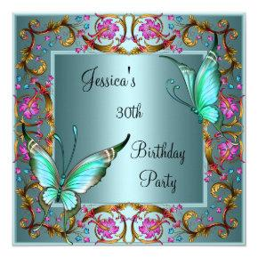 Pink Floral Teal Blue Butterfly 30th Birthday Invitation