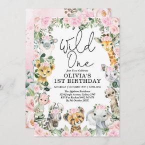 Pink Floral Wild One Jungle Safari Birthday Girl Invitation