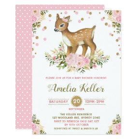 Pink Floral Woodland Deer Baby Shower Invitation