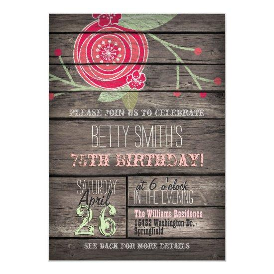 Pink Flower Rustic Country 75th Birthday Party Invitations