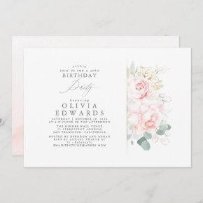 Pink Flowers and Gold Leaves Elegant Birthday Invitation