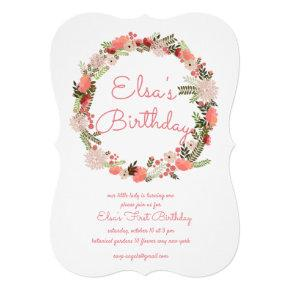 Pink Foral Wreath Birthday Invitaiton Invitation