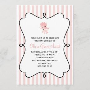 Pink French Poodle Birthday Invitation