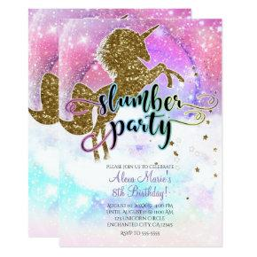 Pink Galaxy Magical Unicorn Sparkle Slumber Party Invitations