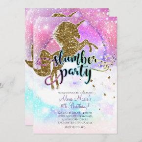 Pink Galaxy Magical Unicorn Sparkle Slumber Party Invitation
