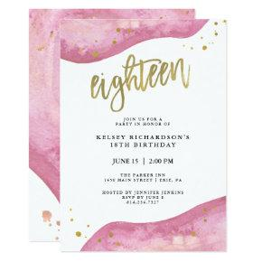 Pink Geode and Faux Gold Look | 18th Birthday Invitation