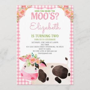 Pink Gingham Farm Animals Girl Birthday Barnyard Invitation