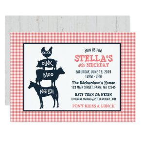 Pink Gingham Farm Theme Animal Girl Birthday Invitations