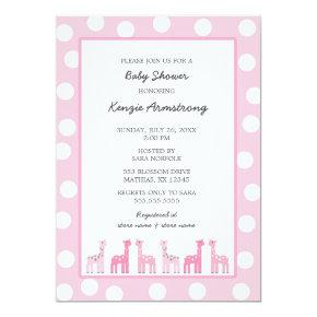 Pink Giraffe baby shower or birthday party Invitations