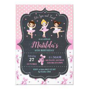 Pink Girl Ballerina Birthday Tutu Ballet Dance Invitation