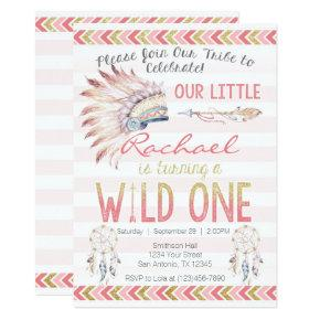 Pink Girl Boho Tribal Wild One Birthday Invitation