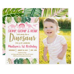 Pink Girl Dinosaur Tropical Birthday Invitation