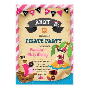 Pink girl pirate theme invitation