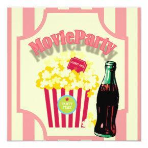 Pink Girls Movie Birthday Party Invitations