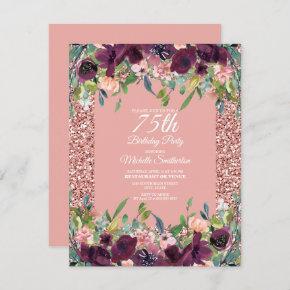 Pink Glitter Purple Floral Women's 75th Birthday