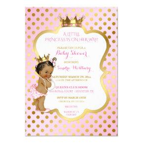 Pink & Gold African American Princess Baby Girl Invitations
