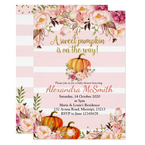 pink gold baby shower pumpkin invitations candied clouds