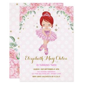 Pink Gold Ballerina Birthday Invite Princess Party