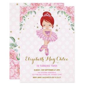 Pink Gold Ballerina Birthday Invite Princess Party