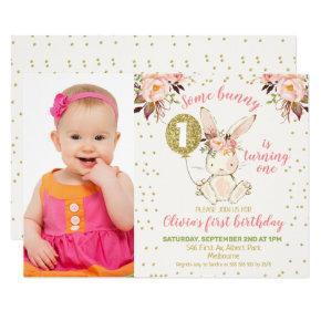 Pink Gold Bunny Photo 1st Birthday Invitation