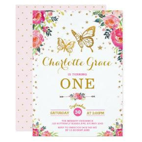 Pink Gold Butterfly Watercolor Floral Birthday Invitation