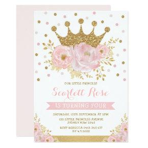 Pink Gold Crown Princess Girly Floral Birthday Invitation