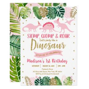 Pink & Gold Dinosaur Safari Birthday Invitation