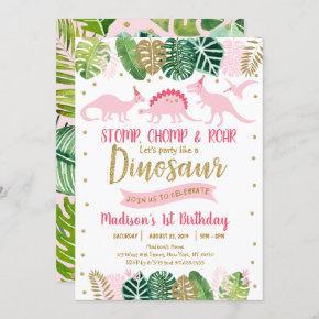 Pink & Gold Dinosaur Safari Birthday Invitation