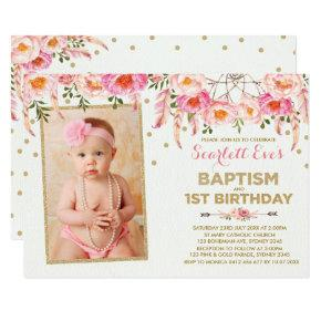 Pink Gold Dreamcatcher Baptism 1st Birthday Party Invitation