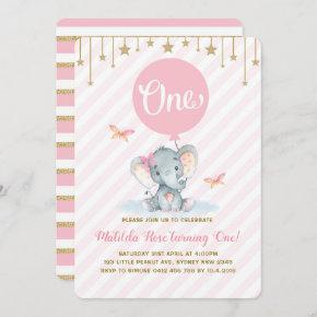 Pink Gold Elephant 1st First Birthday Twinkle Star Invitation