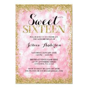 Pink Gold Faux Glitter Lights Sweet 16 Birthday Invitations