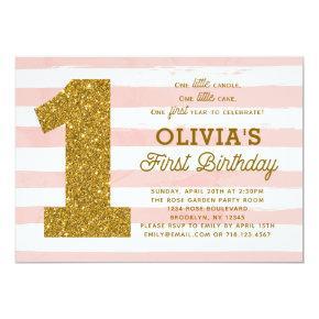 Pink Gold First Birthday Invitations Girl Stripes