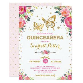 Pink Gold Floral Butterfly Quinceañera Birthday Invitation