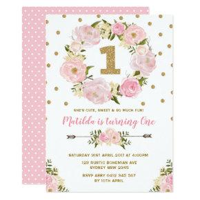 Pink & Gold Floral First 1st Birthday Party Invite