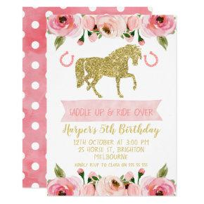 Pink Gold Floral Horse Birthday Party Invitations
